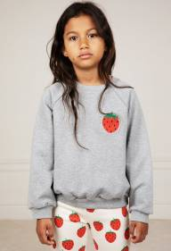 Свитшот Mini Rodini Strawberry grey melange - Свитшот Mini Rodini Strawberry grey melange